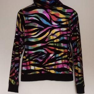 Long Beach VTG galaxy zebra print zipup hoodie 872